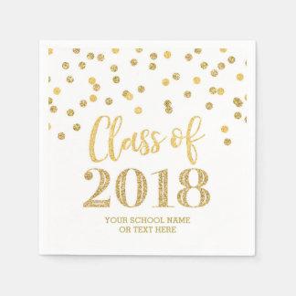 Gold Glitter Confetti Class of 2018 Graduation Disposable Napkins