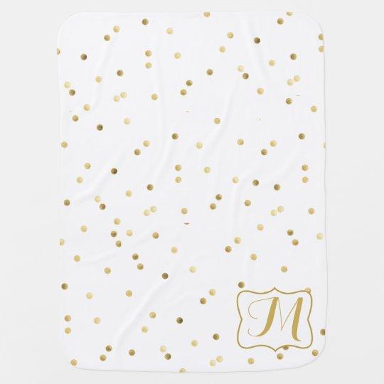 Gold Glitter Confetti Dot Polka Nail Baby Blanket