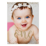 Gold Glitter Confetti First Birthday Poster