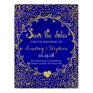 Gold Glitter Confetti Glam Cobalt Save the Date Postcard