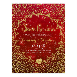 Gold Glitter Confetti Glam Red Save the Date Postcard