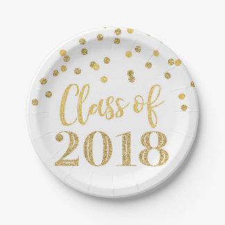 Gold Glitter Confetti Graduation 2018 Paper Plate