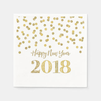 Gold Glitter Confetti Happy New Year 2018 Napkin