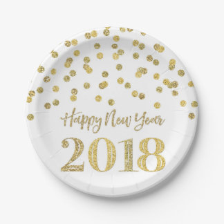 Gold Glitter Confetti Happy New Year 2018 Paper Plate