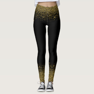 Gold Glitter Confetti Look Leggings
