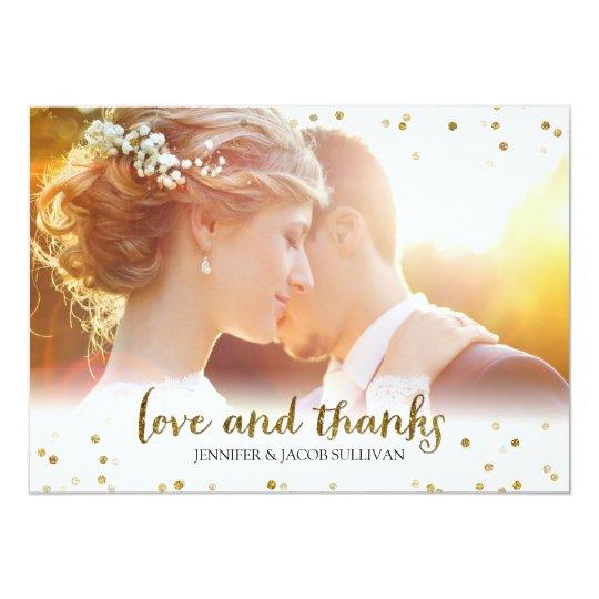 Gold Glitter Confetti Love and Thanks Photo Card