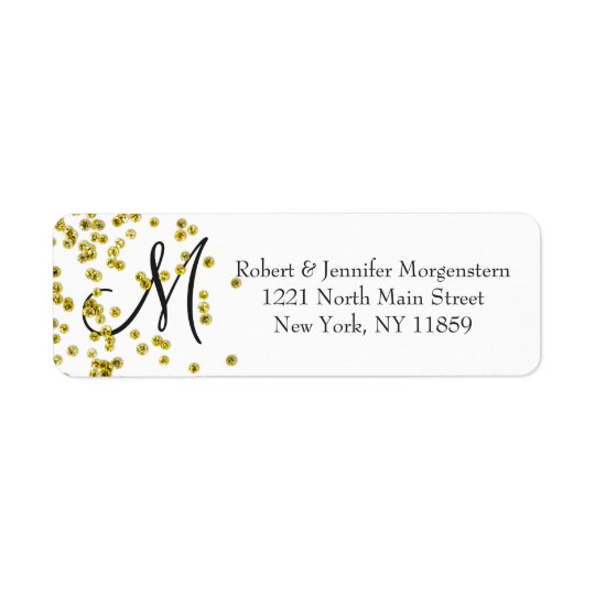 Gold Glitter Confetti Monogram Address