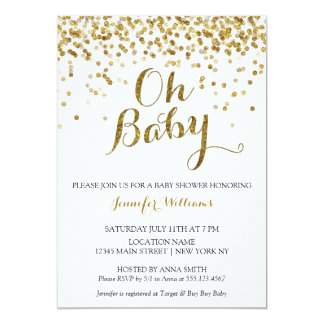 Gold Glitter Confetti Oh Baby, Baby Shower Invite