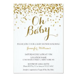 Gold Glitter Confetti Oh Baby, Baby Shower Invite
