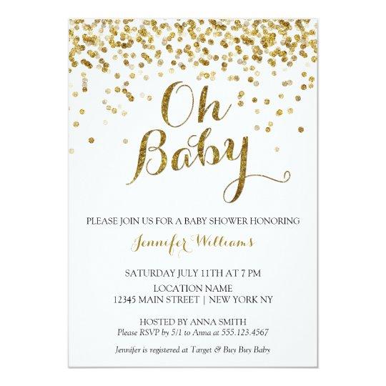 Gold Glitter Confetti Oh Baby Baby Shower Invite Zazzleca