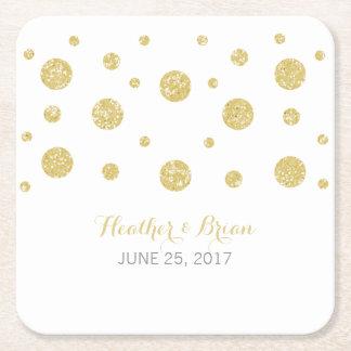 Gold Glitter Confetti Paper Coasters