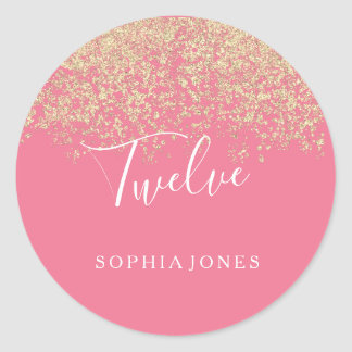 Gold Glitter Confetti Pink 12th birthday party Classic Round Sticker