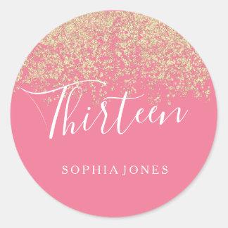 Gold Glitter Confetti Pink 13th birthday party Classic Round Sticker