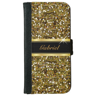 Gold Glitter Confetti Print iPhone 6 Wallet Case