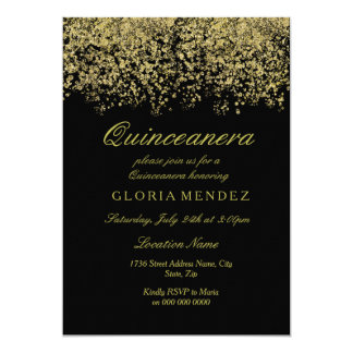 Gold Glitter Confetti Quinceanera Invitation