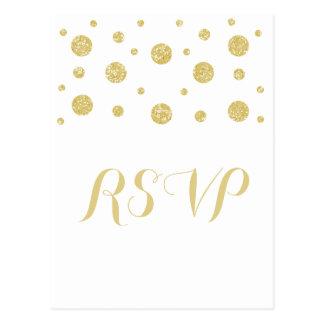 Gold Glitter Confetti Response Postcard