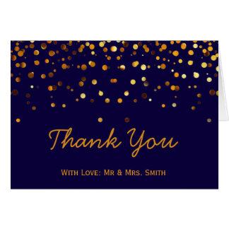 Gold Glitter Confetti Sparkles Blue Thank You Card