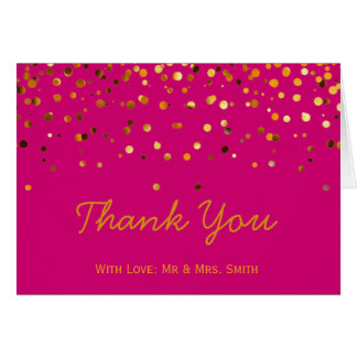 Gold Glitter Confetti Sparkles Pink Thank You Card