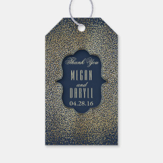 Gold Glitter Confetti Vintage Navy Wedding Gift Tags