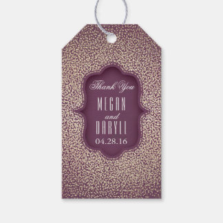 Gold Glitter Confetti Vintage Plum Wedding Gift Tags