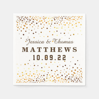 Gold Glitter Confetti Wedding Faux Foil Disposable Napkins