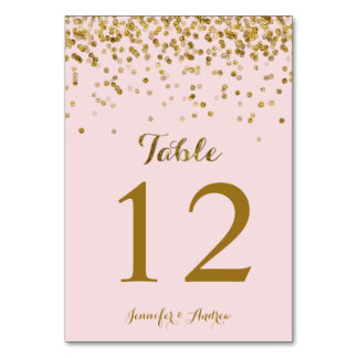 Gold Glitter Confetti Wedding Table Numbers Blush