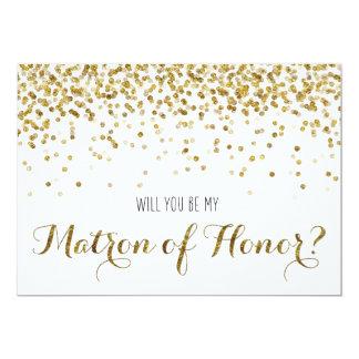 """Gold Glitter Confetti Will you be Matron of Honor 5"""" X 7"""" Invitation Card"""