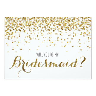 "Gold Glitter Confetti Will you be my Bridesmaid 5"" X 7"" Invitation Card"
