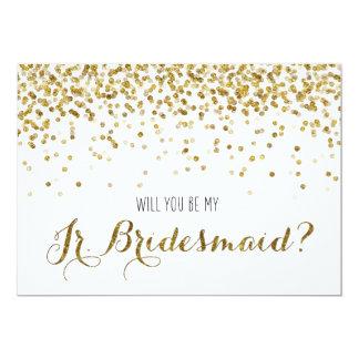 """Gold Glitter Confetti Will you be my Jr Bridesmaid 5"""" X 7"""" Invitation Card"""