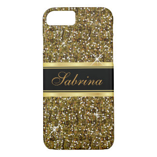 Gold Glitter Confetti with Gold Accents iPhone 8/7 Case