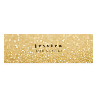 Gold Glitter Contemporary Hair Stylist Skinny Card Mini Business Card