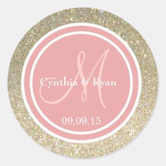 Gold Glitter & Coral Pink Wedding Monogram Classic Round Sticker