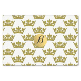 Gold Glitter Crowns Royal Monogram Elegant Modern Tissue Paper