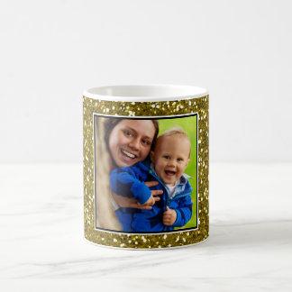 Gold Glitter Custom Photo Coffee Mug