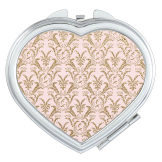 Gold Glitter Damask on Pink Compact Mirrors