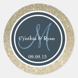 Gold Glitter & Dark Blue Wedding Monogram Seal Round Sticker
