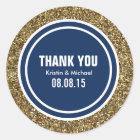 Gold Glitter Dark Navy Blue Custom Thank You Label