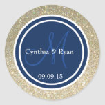 Gold Glitter & Dark Navy Blue Wedding Monogram Round Sticker
