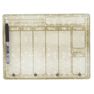 Gold Glitter Days of the Week Weekdays to do Dry Erase Board With Keychain Holder