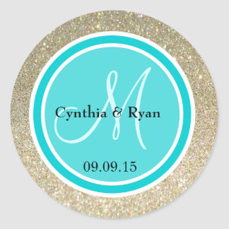 Gold Glitter & Deep Turquoise Wedding Monogram Round Sticker