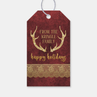 Gold Glitter Deer Antlers Happy Holidays Christmas Gift Tags