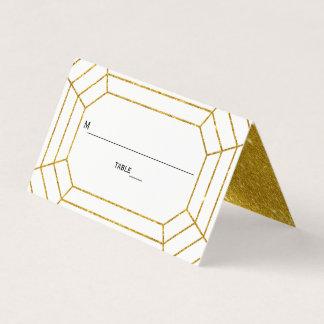 Gold glitter diamond jewel wedding folded escort place card