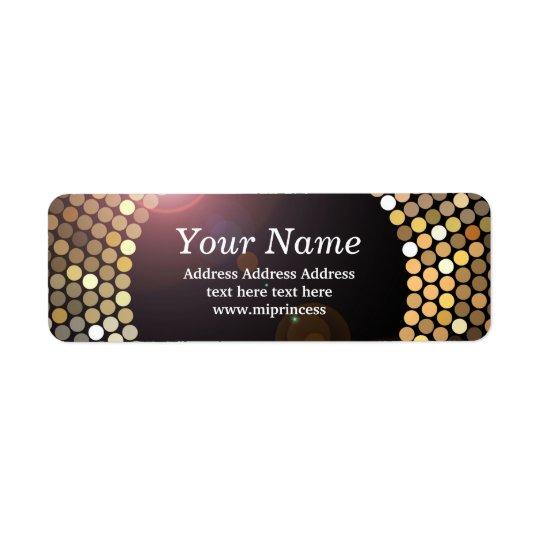 gold glitter disco return address stickers