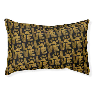Gold Glitter Dog Love Dogs Paw on Black Pet Bed