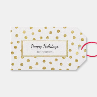 Gold glitter dots gift tags