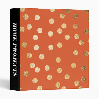 Gold Glitter Dots on Orange Binder