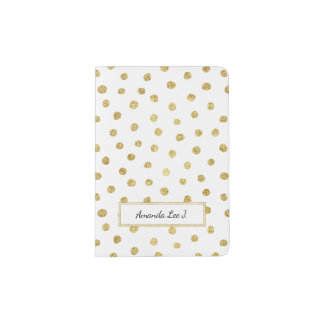 Gold glitter dots passport holder