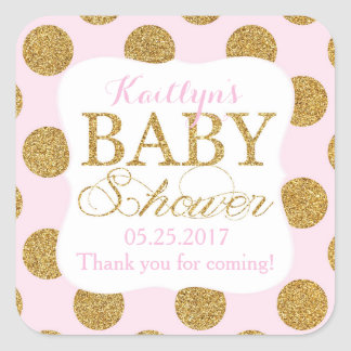 Gold Glitter Dots Pink Baby Shower Label Square Sticker