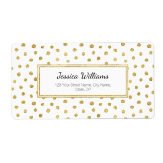 Gold glitter dots shipping label