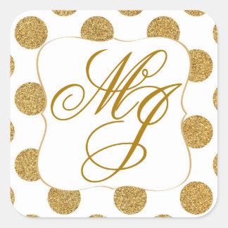 Gold Glitter Dots White Monogram Labe Square Sticker